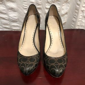 SALE Coach Monogram Tooled Leather Heels